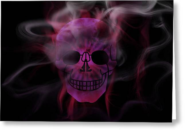 Colorspot Greeting Cards - Digital-Art Smoke and Pink Skull Panoramic Greeting Card by Melanie Viola