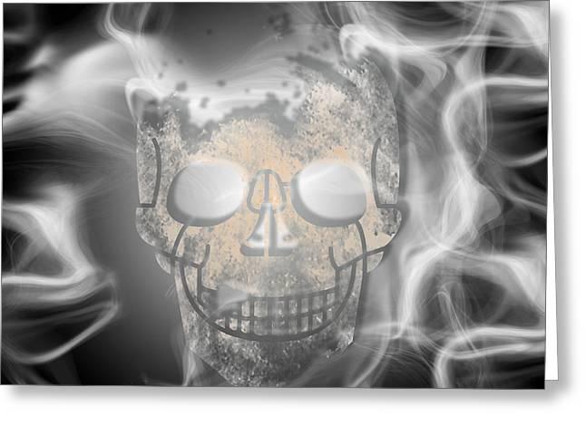 Smoke Mixed Media Greeting Cards - Digital-Art Smoke and Skull Greeting Card by Melanie Viola