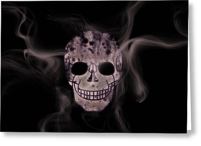 Abstract Style Mixed Media Greeting Cards - Digital-Art Smoke and Skull Panoramic Greeting Card by Melanie Viola