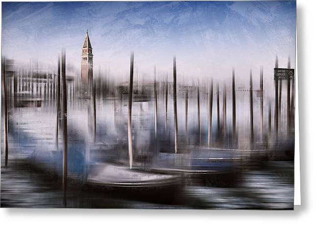Sightseeing Digital Greeting Cards - Digital-Art VENICE Grand Canal and St Marks Campanile Greeting Card by Melanie Viola