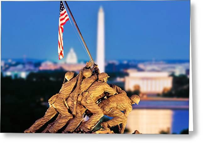 Digital Composite, Iwo Jima Memorial Greeting Card by Panoramic Images