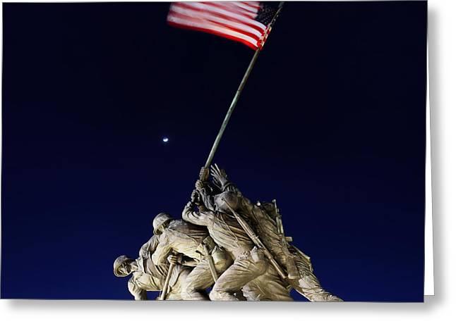 Flag Digital Greeting Cards - Digital Liquid - Iwo Jima Memorial at Dusk Greeting Card by Metro DC Photography