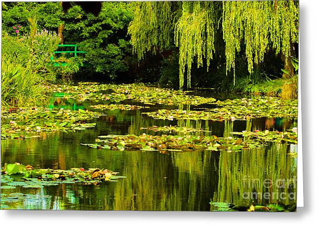 Weeping Greeting Cards - Digital Paining of Monets Water Garden  Greeting Card by MaryJane Armstrong