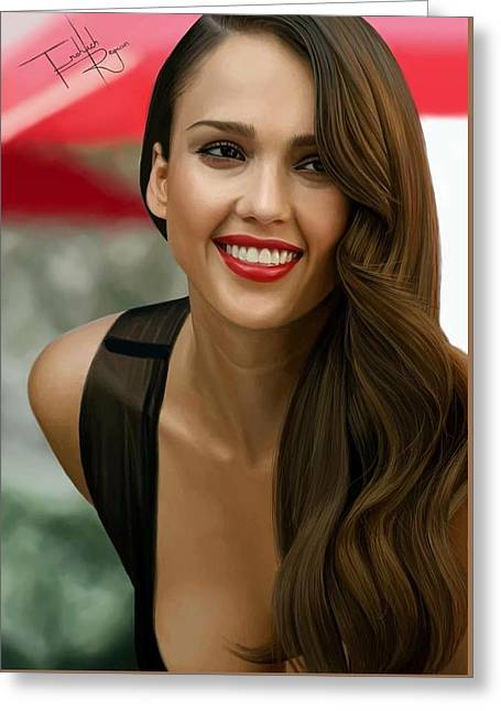 Digital Painting Of Jessica Alba Greeting Card by Frohlich Regian