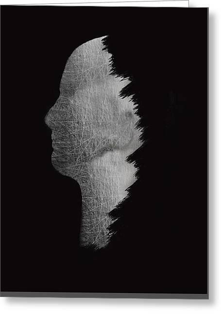 Digital Sculpture In Black Greeting Card by Art Spectrum