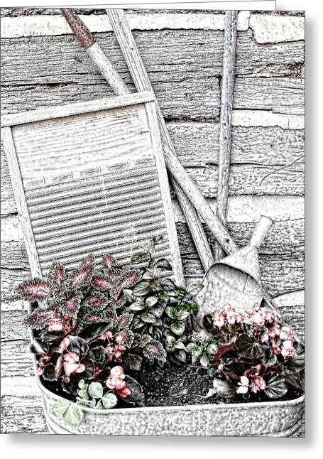 Wash Tubs Greeting Cards - Digital Sketch Wash Tub and Flowers Greeting Card by Linda Phelps