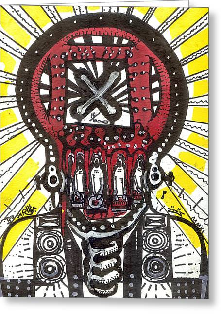 Bass Head Light Greeting Cards - Digital Spit Greeting Card by Robert Wolverton Jr