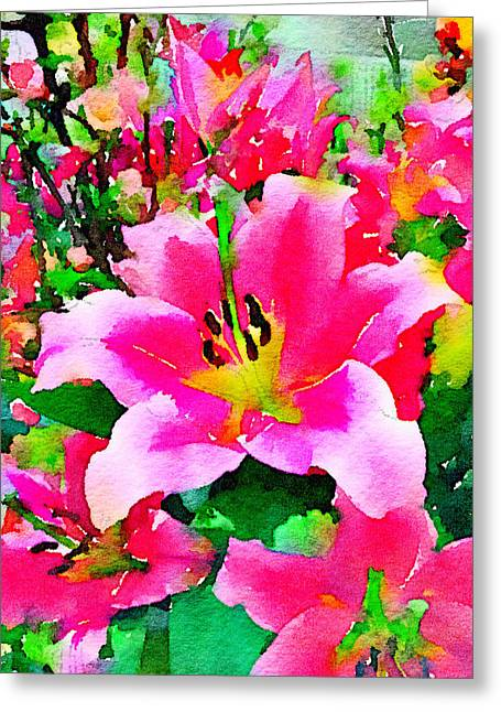 Digital Watercolor Of Pink Lilies Greeting Card by Anita Van Den Broek