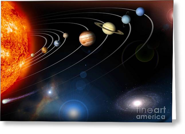 Ring Systems Greeting Cards - Digitally Generated Image Of Our Solar Greeting Card by Stocktrek Images