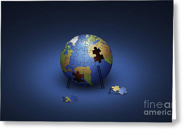 Planet Earth Greeting Cards - Digitally Generated Image Of The Earth Greeting Card by Vlad Gerasimov