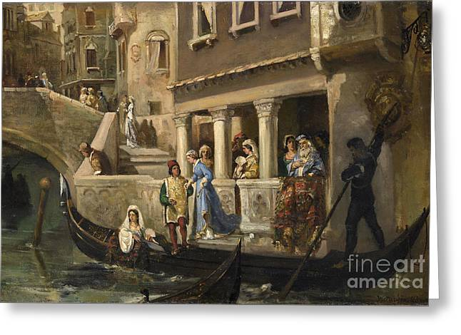 Dignitaries Boarding A Gondola On A Venetian Backwater Greeting Card by Celestial Images