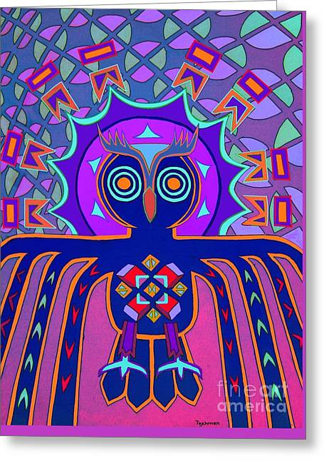 Psychedelic Owl Greeting Cards - Dimensional Owl Greeting Card by Ed Tajchman