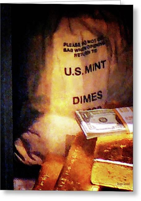 Dimes Dollars And Gold Greeting Card by Susan Savad