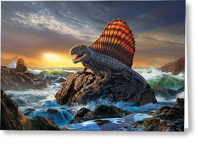 Dimetrodon Greeting Card by Jerry LoFaro