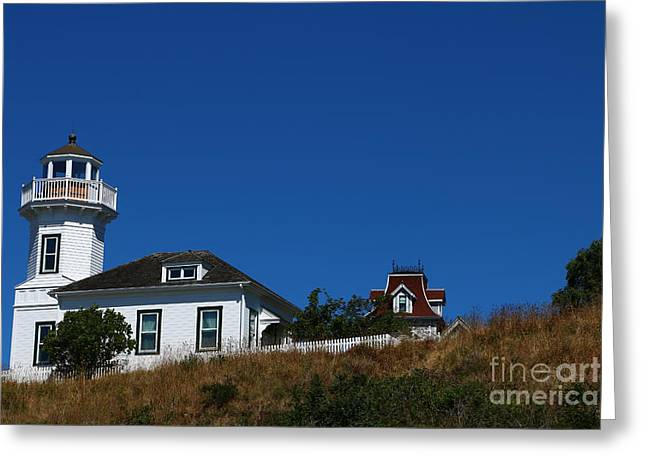 Wooden Ship Greeting Cards - Dimick Lighthouse - Port Townsend Greeting Card by Christiane Schulze Art And Photography