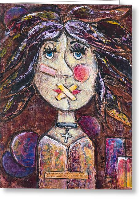 Free Speech Mixed Media Greeting Cards - Diminished Greeting Card by Tanya Joiner Slate