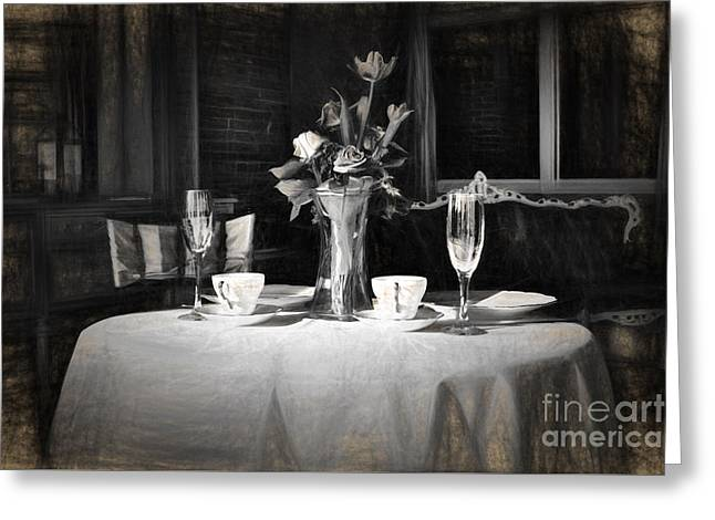 Artistic Photography Greeting Cards - Diner for two Charcoal Drawing Greeting Card by C W Hooper