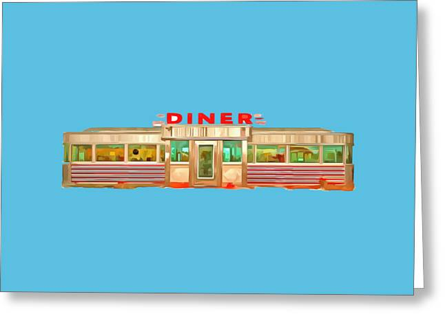 Vintage Greeting Cards - Diner Tee Greeting Card by Edward Fielding