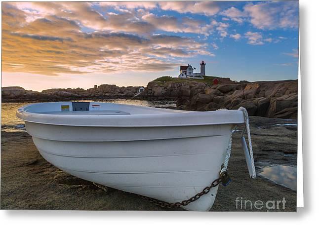 Cape Neddick Lighthouse Digital Art Greeting Cards - Dinghy at Nubble Lighthouse Greeting Card by Jerry Fornarotto
