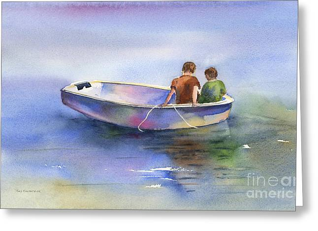 Dinghy Conversation Greeting Card by Amy Kirkpatrick