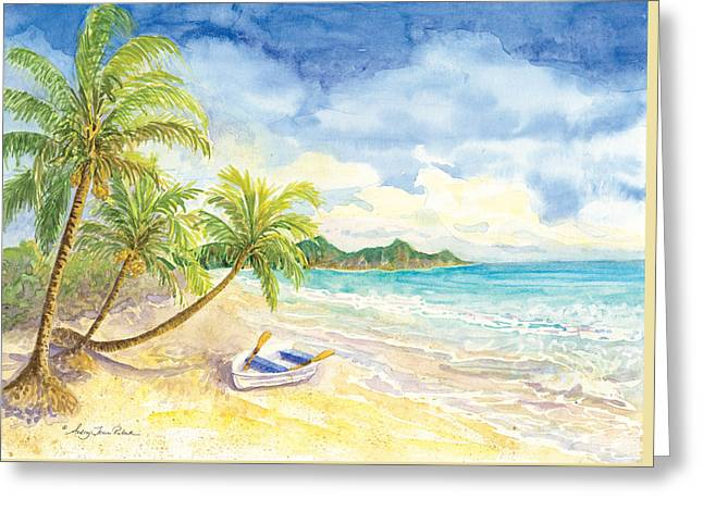 Dinghy Greeting Cards - Dinghy on the Tropical Beach with Palm Trees Greeting Card by Audrey Jeanne Roberts