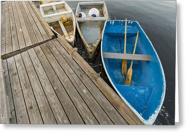Recently Sold -  - Coastal Maine Greeting Cards - Dinghys at Perkins Cove Greeting Card by Tony Baldasaro