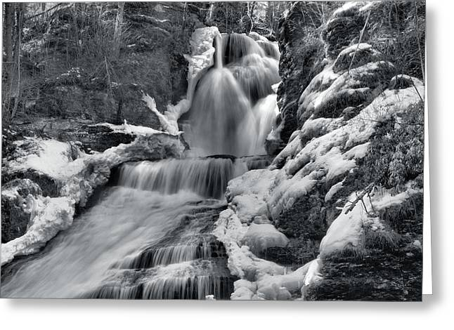 Dingmans Falls Greeting Cards - Dingmans Falls In Winter Greeting Card by Stephen  Vecchiotti