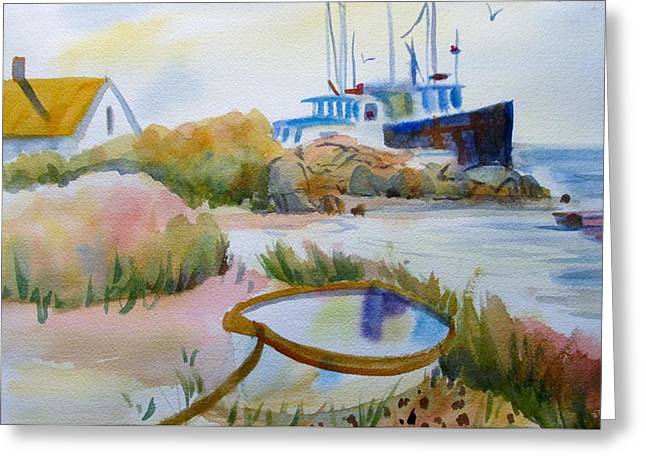 Seacape Greeting Cards - Dingy in the weeds Greeting Card by Linda Emerson