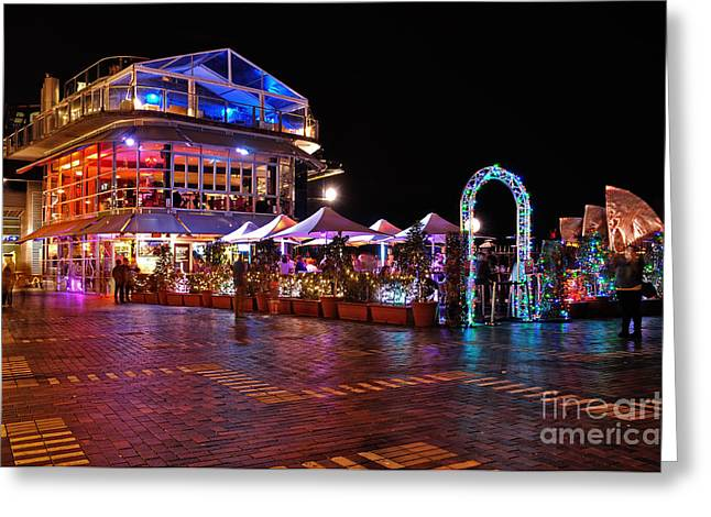 Night Lamp Greeting Cards - Dining in Color - Vivid Sydney by Kaye Menner Greeting Card by Kaye Menner