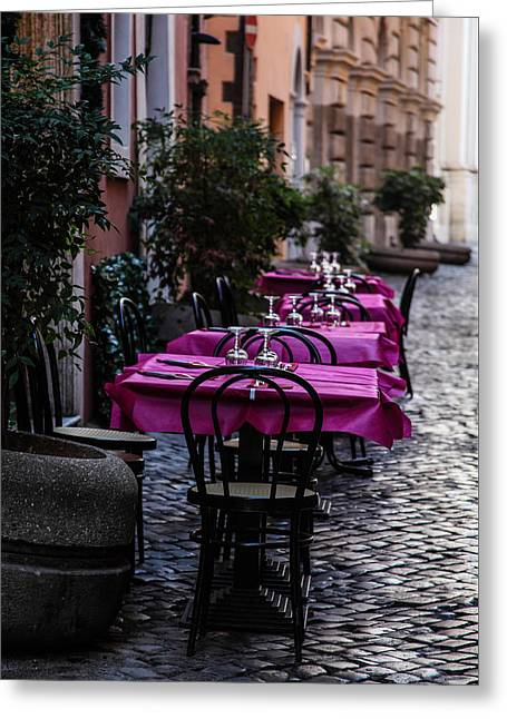 Table Wine Greeting Cards - Dining in Rome Greeting Card by Scarlet Lewis