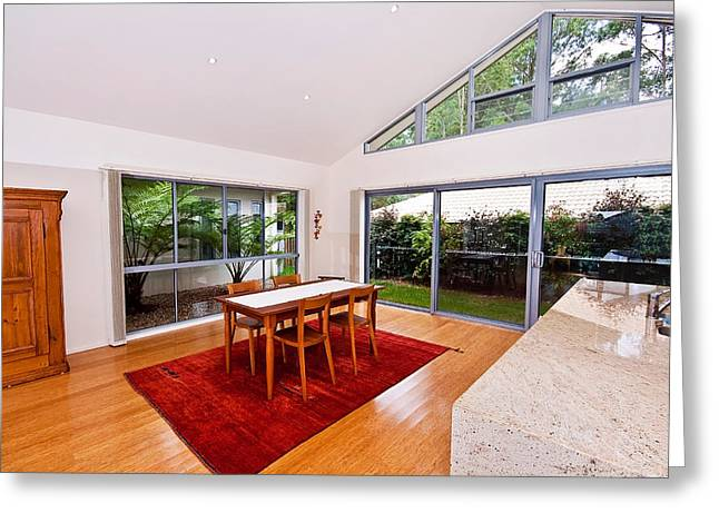 Sliding Glass Door Greeting Cards - Dining Room With Slanted Ceiling Greeting Card by Darren Burton