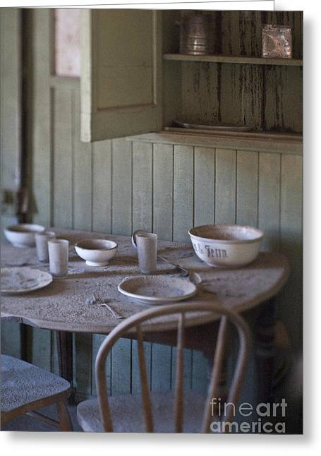 Run Down Greeting Cards - Dining Table in Abandoned Home Greeting Card by Eddy Joaquim