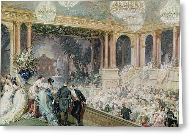 Ball Room Greeting Cards - Dinner at the Tuileries Greeting Card by Henri Baron