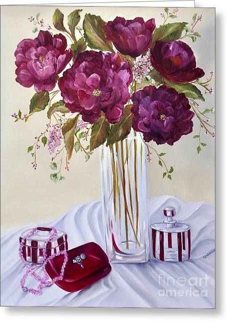 Garnet Greeting Cards - Dinner Date Greeting Card by Carol Sweetwood