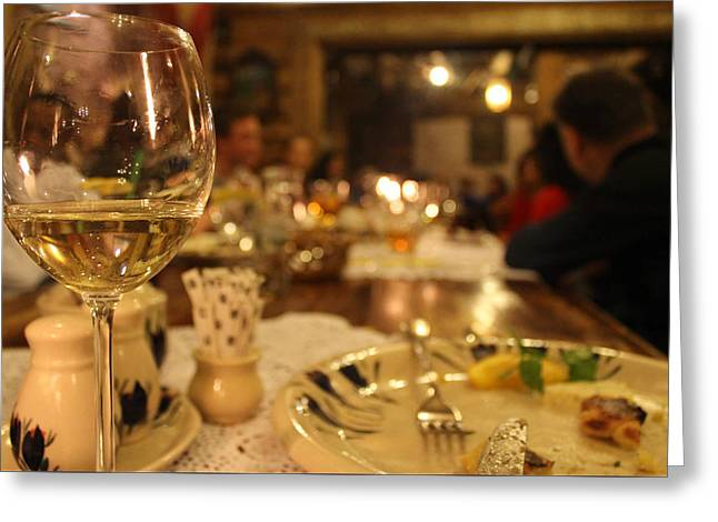 Table Wine Greeting Cards - Dinner in Krakow Greeting Card by R and R Art