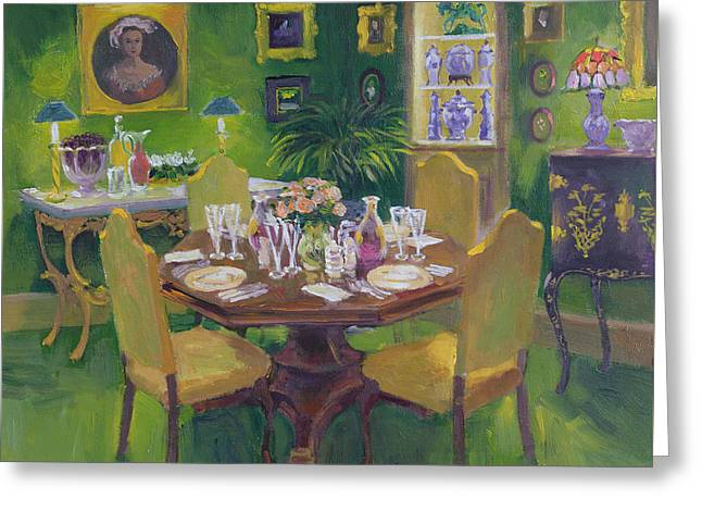 Interior Still Life Paintings Greeting Cards - Dinner Party Greeting Card by William Ireland