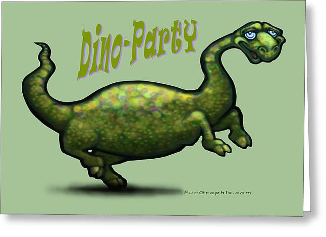 Party Greeting Cards - Dino Party Greeting Card by Kevin Middleton
