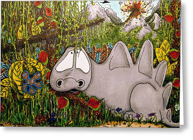 Pen And Ink Drawing Greeting Cards - Dino Greeting Card by Ross Powell