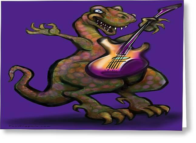 Dinosaur Greeting Cards - DinoRock Greeting Card by Kevin Middleton
