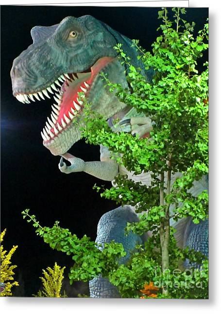 Extinct And Mythical Sculptures Greeting Cards - Dinosaur at Night Greeting Card by Crystal Loppie