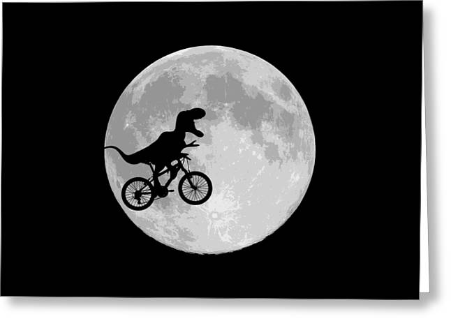 80s Greeting Cards - Dinosaur Bike And Moon Greeting Card by Bubb Snugg