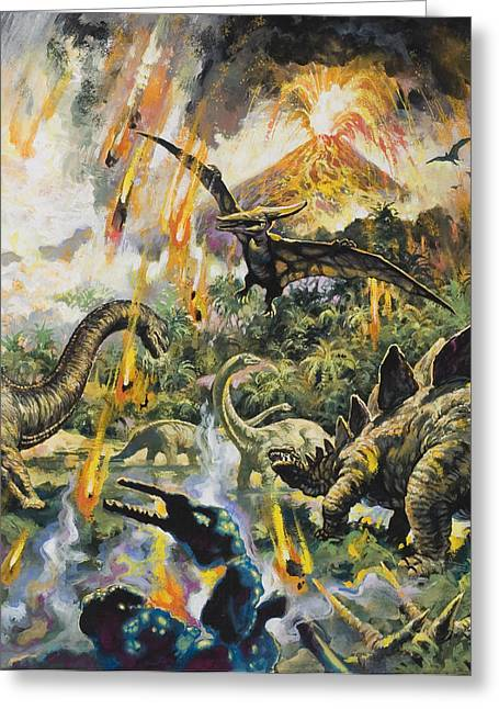 Eruption Greeting Cards - Dinosaurs and Volcanoes Greeting Card by English School