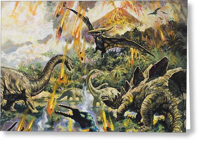Dinosaurs and Volcanoes Greeting Card by English School