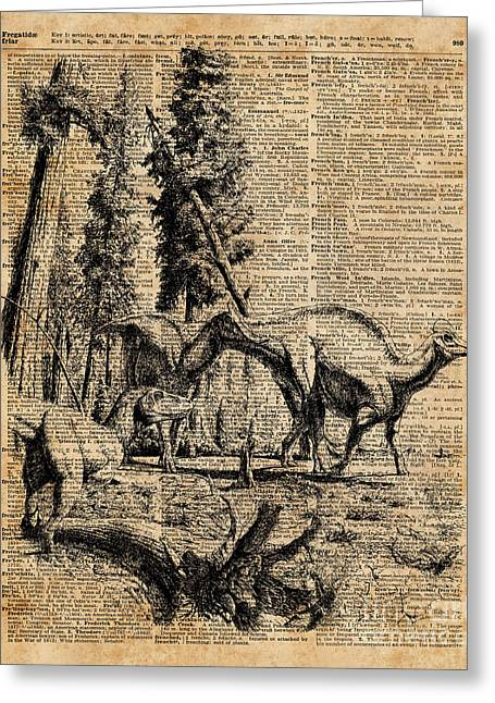 Dinosaurs In Forest Vintage Dictionary Art Illustration Greeting Card by Jacob Kuch