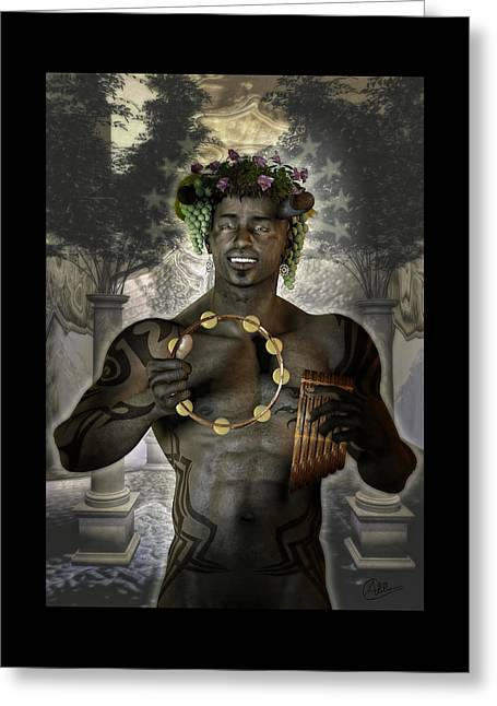 Religious Mixed Media Greeting Cards - Dionysus god by Quim Abella Greeting Card by Joaquin Abella