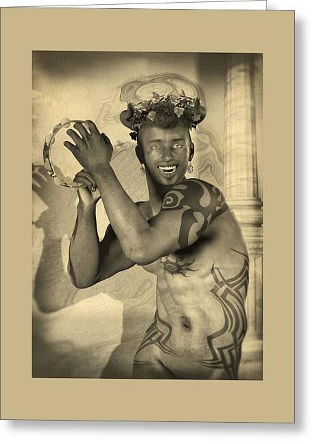 Dionysus Sepia Old Greeting Card by Quim Abella