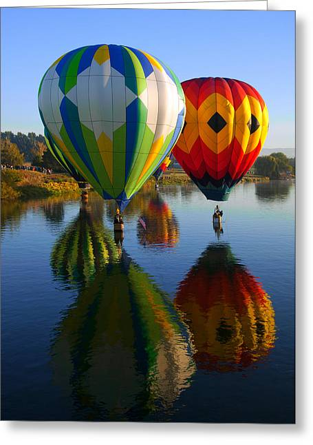 Hot Air Greeting Cards - Dipping the Basket Greeting Card by Mike  Dawson