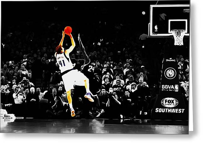 Dirk Nowitzki Fade Away Jumper Greeting Card by Brian Reaves