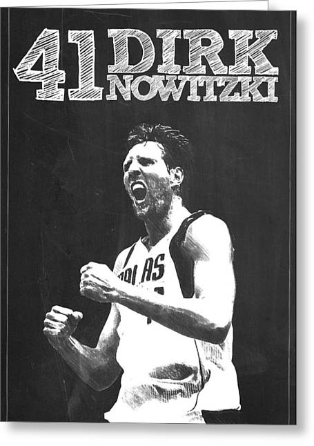 Kobe Bryant Wall Art Greeting Cards - Dirk Nowitzki Greeting Card by Semih Yurdabak