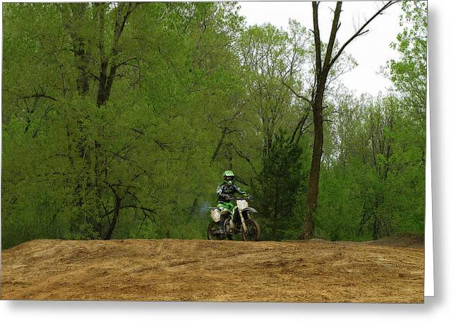 Rally Greeting Cards - Dirt Bike Rider Greeting Card by Scott Hovind